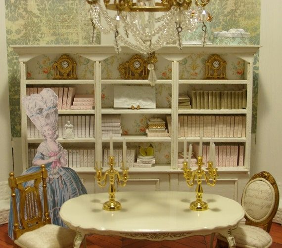 Marie Antoinette Bookcase Miniature Dollhouse Furniture Scale 1:12