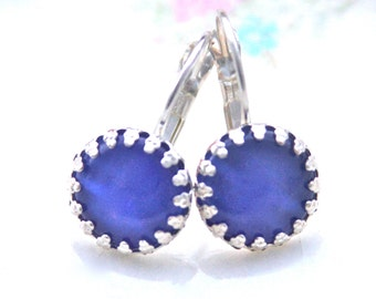 Royal Blue Glass Round Silver Prong Lever Back Drop Dangle Earrings - Wedding, Bridal, Bridesmaid