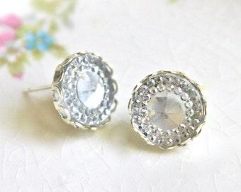 Vintage Clear Glass Rhinestone Post Earrings - Vintage, Silver Scalloped, Wedding, Bridal, Bridesmaid Earrings
