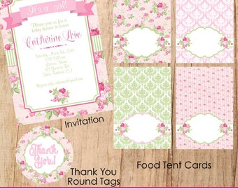 Shabby Chic Baby Shower theme Printable Party Kit for a baby girl-Cupcake Toppers, Bunting Banners, Water Bottle Labels,Food Flags,