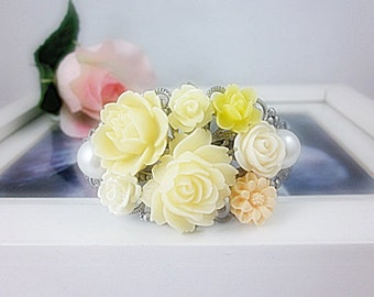 Flowers Cuff Bangle.  Shades of Ivory and Peach flowers on Antique Silver Victorian Filigree Cuff Bangle. Gift for her.