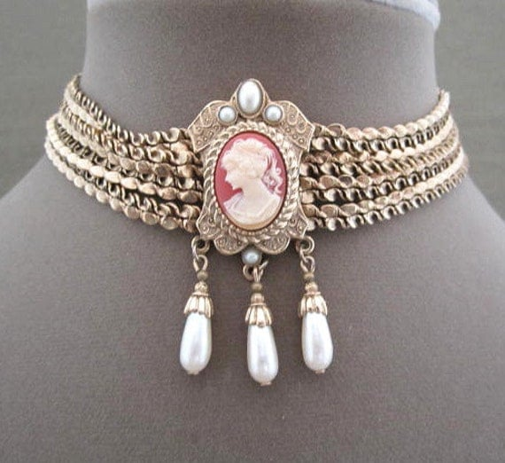 Victorian Cameo Chain Choker Necklace