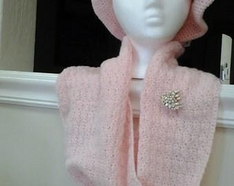 hand crochet hat set cowl scarf set