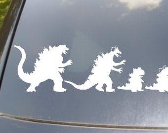 Godzilla Family of 4 Car Sticker