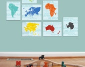 Maps for Kids, Seven Continents, Set of Seven, 11X14 Inches, Playroom decor, Baby Gift, Nursery Decor