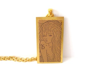 Capricorn the Sea Goat Necklace Zodiac Jewelry Rubber Stamped Leather Metal Base