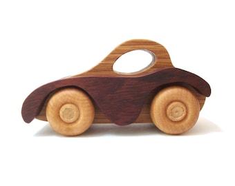 Wooden Car Toy Childrens Natural Organic Waldorf Wood Toy Car Motor Vehicle
