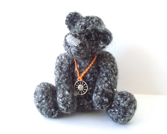 Collectible Teddy Bear Jointed Hand Crocheted Charcoal With Sun Charm