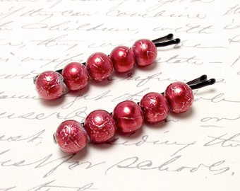 Metallic Red Hair Accessories. Valentine Red Hair Pins. Red Beaded Bobby Pins. Ruby Hair Pins. Crimson Red  Hair Clips.