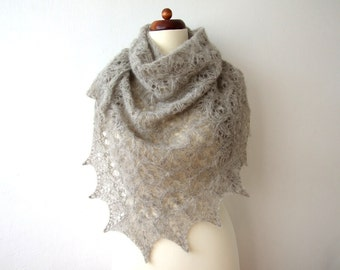 gray silk aplaca scarf, triangle lace shawl, knitted, handmade, cozy and warm