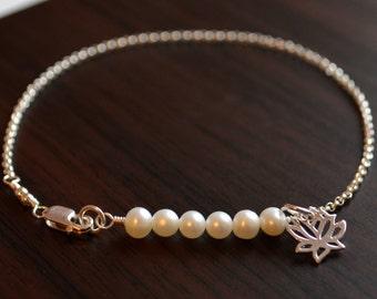 Simple Pearl Bracelet, Tween Jewelry, Sterling Silver, Girls, Children, Lotus Flower Charm, White Genuine Freshwater