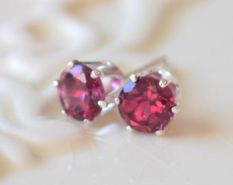 Rhodolite Garnet Stud Earrings, Plum Raspberry Gemstone, 5mm Genuine Semiprecious Stone, Sterling Silver, Free Shipping