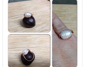 Large White Freshwater Pearl and Copper Ring Size 7 3/4