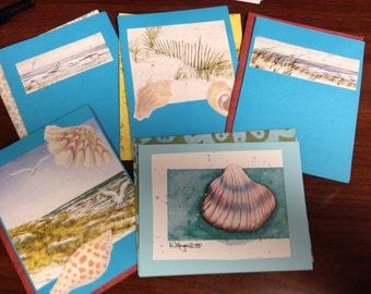 Seaside Beach Blank Notecards  6 count