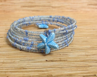 Blue Starfish Stacking Memory Wire Bracelet 12 wraps