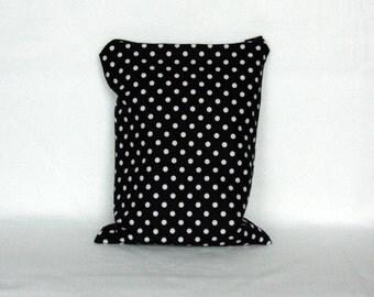 Wet Bag: Black and White Polka Dot - Diaper Bag - Beach Bag - Gym Bag - Waterproof Bag