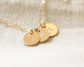 Gold Initial Disc Necklace, Personalized Necklace, Dainty Initial Charms, Initial Discs, Mother's Necklace, Gold Filled, Gift for Mom