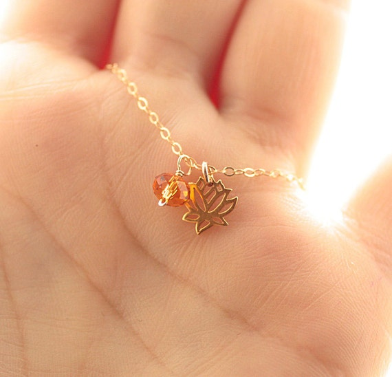 Tiny lotus necklace lotus flower charm tiny birthstone for Gemsprouts tiny plant jewelry