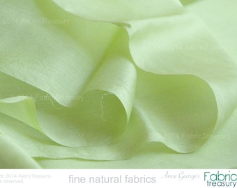 "Handwoven Peace Silk fabric by the yard. Ahimsa Silk. Natural, organic, pure silk fabric. Doll couture. 42""/106 cm wide. Lime Sorbet Color."