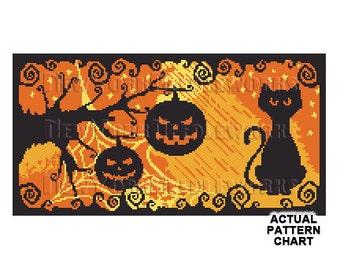 Halloween Cat and Pumpkins Cross Stitch, Halloween Cross Stitch, Halloween Black Cat, Cats, Halloween, Pumpkin by NewYorkNeedleworks on Etsy