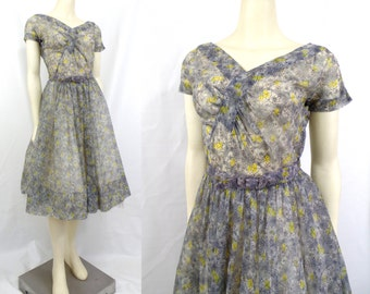 Vintage 1950s sheer nylon Full skirt party dress Atomic print Ruched  bust Belted Side metal zipper Rockabilly New Look