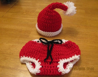 Santa hat & pant set crochet newborn size photo prop / costume