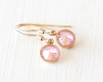 Pink Frost - Dangle Earrings - Simple Everyday Jewelry