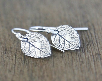 Tiny Detialed Sterling Silver Leaf Earrings - Everyday dainty small jewelry