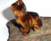 Golden Tigers Eye Gemstone Cat Spirit Animal Carving