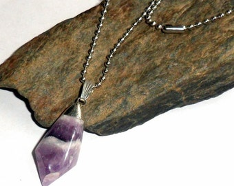 Chevron Amethyst Tumble Stone Necklace Ball Chain earthegy