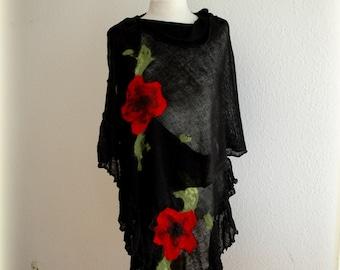 Black LINEN Knitted  Shawl Wrap Capelet Shrug Unique Whit Felt Fower Appliques Wrap Women Linen Black Shawl Fiber Art Plus Size