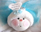 Godfather Gift Baptism Angel Ornament Blue Wings Bow White Heart Townsend Custom Gifts - F