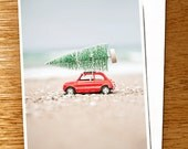 "CHRISTMAS CARD Fiat and Tree on the Beach Original 6"" x 4"" Photo Mounted on Nice Thick Card Stock. Red Car Xmas Card, Car and Tree Card"