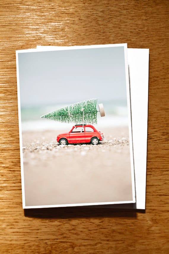 """CHRISTMAS CARD Fiat and Tree on the Beach Original 6"""" x 4"""" Photo Mounted on Nice Thick Card Stock. Red Car Xmas Card, Car and Tree Card"""