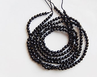 3mm Black Onyx faceted round beads, full strand