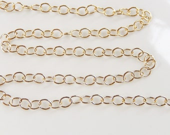 2FT (4x4.5mm) 14K Gold Filled  round cable chain, extension chain