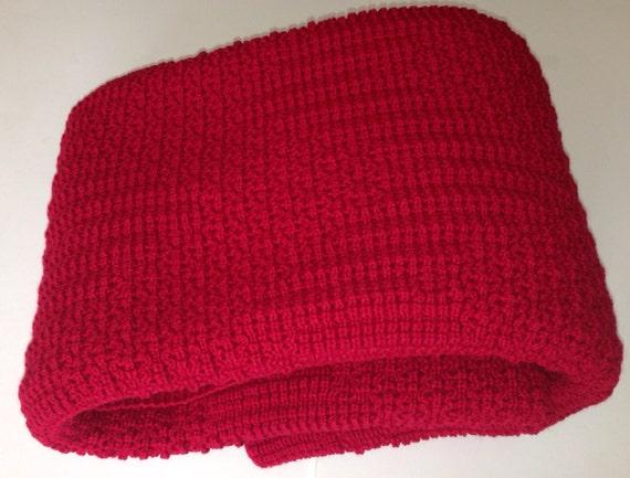 Dark Red Throw Blanket, Afghan Knitted