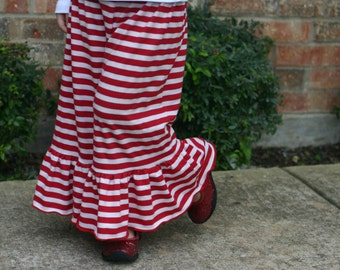 red and white stripe knit ruffle pants big ruffles sizes 12m - 14 girls Christmas