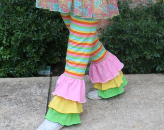 rainbow stripe leggings with green, pink, and yellow ruffles sizes 12m - 12 girls