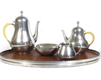 Danish Modern Royal Holland Pewter Tea Set with Tray K M D Daalderop Mark