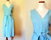 FREE shipping! Vintage Dress / 50's Sleeveless Dress / Pale Blue Extra Small