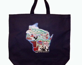 Wisconsin canvas grocery tote bag, market, shopping bag, agriculture, country, farm landscape, blue, green, red Tote003