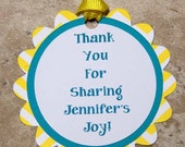 Party Favor Gift Tags for Birthday or Baby Shower- teal yellow chevron- (35 pack)