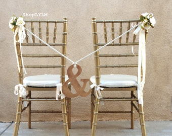 Ampersand Chair, Ampersand Sign, Wedding Sign, And Sign, Chair Flowers, Mr and Mrs, Chair Decor, Chair Garland, Bridal Chair, Rope Tie