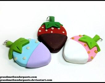 Fairy Kei Strawberry Necklace, Fairy Kei, Decora, Handmade Pastel Fruit