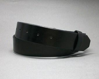 Belt Black Leather Handcrafted Snap Strap