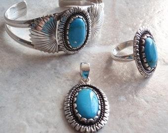 Turquose Sterling Bracelet Ring Pendant Silver Parure Vintage 102013SB