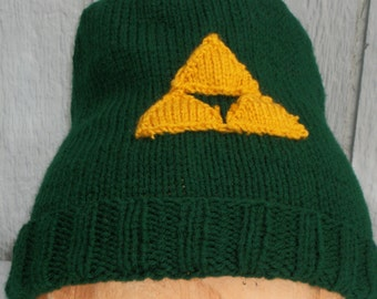 Legend of Zelda Inspired Hand Knitted Link Green Cap with TriForce