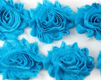 Turquoise Shabby Rose Trim 2-1/2 inches - 1/2 or 1 yard - Shabby Rose Trim - Shabby Chiffon Flower Hairbow Supplies, Etc.