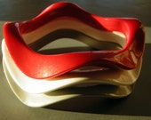 Lot of 3 Vintage 60s Wavy MOD Bracelets - Space Age Jane Jetson - Red White Gray Molded Plastic
